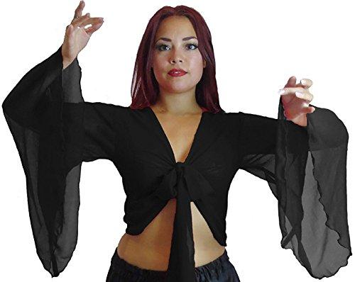 Dancers World Ltd (UK Seller) Belly Dance Choli Winged Arm Top Tribal Gypsy Costume UK Size (Black, (Tribal Belly Dance Costumes Uk)