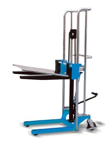 i-Liftequip PJ·A Series Adjustable Fork Type Manual Stacker with Stainless Steel Platform, 59'' Lift Height x 25-19/32'' Length x 9-1/4'' - 19-11/16'' Width Fork, 880 lbs Capacity