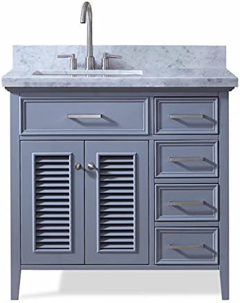 ARIEL Kensington D037S-L-VO-GRY 37 Inch Left Offset Single Rectangular Sink Grey Bathroom Vanity Cabinet With Carrara White Marble Countertop
