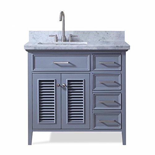 ARIEL Kensington D037S-L-VO-GRY 37 Inch Left Offset Single Rectangular Sink Grey Bathroom Vanity Cabinet With Carrara White Marble Countertop