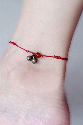 POLPEP retro literary elegance red string anklet bells agate beads transit black onyx black rope section