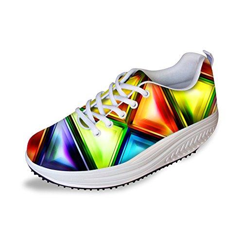 Platform Wandelschoenen Voor Dames Shape Ups Sneaker Skull Mesh Ademend Casual Wedge Schoenen Patroon 4