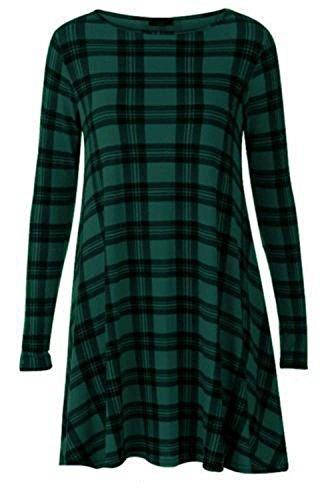 NUEVO MUJER MUJER DE MANGA LARGA de impresión de tartán Swing acampanado Vestido de Cuadros Vestido Manga Larga Plus Talla UK 8–�?6 Green Tartan