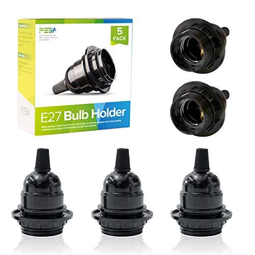 E27 Screw Lamp Holder, E27 Bulb Holders, ES Lamp Holder Black, Lamp Holder E27, Bakelite Pedestal Light Bulb Socket…