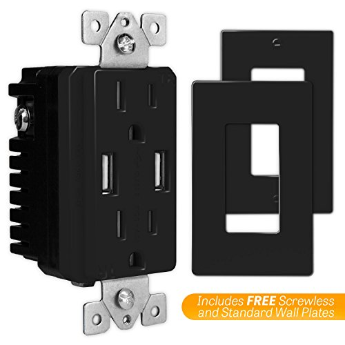 TOPGREENER TU2154A 4A High Speed USB Charger Receptacle 15A Tamper-Resistant Outlet w 2 Wall Plates, Black