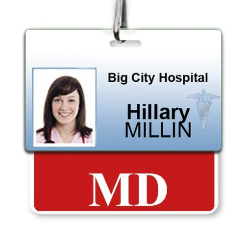 MD Horizontal Badge Buddy with RED Border from Specialist ID, Sold Individually