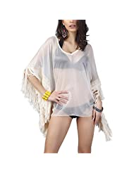 GAXmi Women's Summer Transparent Fringed Batwing Sleeve Bikini Cover Up with Earring