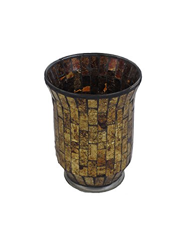 """Firefly Home Collection Mosaic Candle Holder, 5 x 5 x 6"""", Go"""