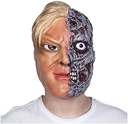 YGHBKL Burnt Man Fancy Dress Traje Quemado Máscara De La Cara con Pelo Caras Temibles Zombi Quemado Carne Máscara De Látex: Amazon.es: Hogar
