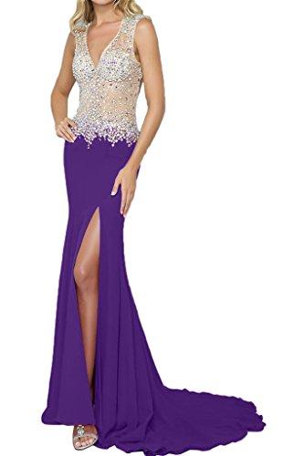 vestido de recorte Ranura piedras de ivyd V noche ressing fijo morado Mujer vestido vestido para Prom Elegante rueckenfrei largo fiesta FwSXXTOq
