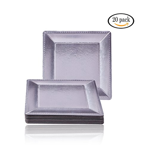 DISPOSABLE SQUARE CHARGER PLATES - 20pc (Metallic/Silver)