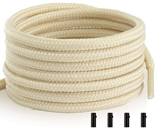 (Shoemate Round Solid Color Shoe laces for Sneakers & Boots with 4 Shoelace Tip Algets, Beige, 40