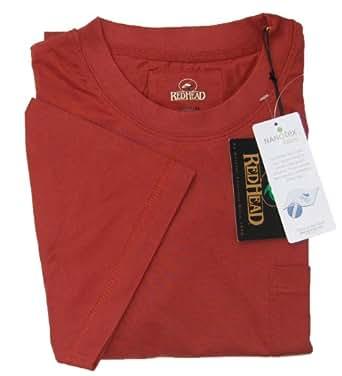 Nano-Tex RedHead Pocket T-Shirts for Men (X-Large, Wine)