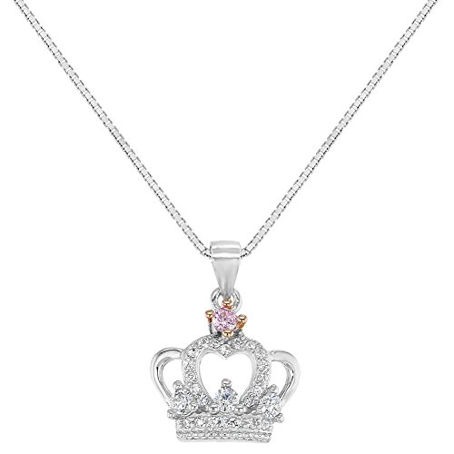 925 Sterling Silver Clear Pink CZ Princess Crown Necklace Pendant Girls Kids 16