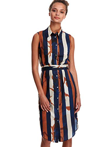 Milumia Women's Button Up Print Sleeveless Collar Chiffon Dress Multicolor Small