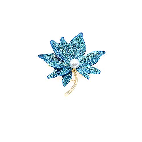 HSQYJ Maple Leaf Brooches Fashion Beautiful Metal Pearl Enamel Sandblasting Brooch Retro Painting Double-Layer Lapel Pins for Women Girl Jewelry Gift (Bule Maple Leaf Brooch)