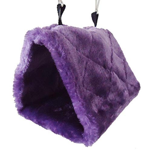 CVMbro2X Pet Bird Parrot Hamster Plush Triangle Hanging Sleeping Hammock Nest House Bed – Purple M