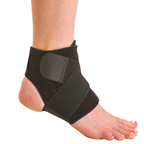 BraceAbility Neoprene Water-Resistant Ankle Brace | Compression Foot Wrap for Swimming, Running, Surfing, Diving, Exercise, Athletic Support & Protection, Sprains, Tendonitis and PTTD Pain (S/M)