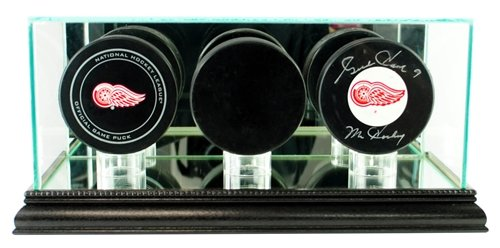 Hockey Puck Glass Triple Puck Display Case with Black Base (5 Hockey Puck Display Case)