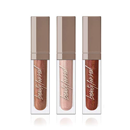 (Beauty For Real Lip Gloss + Shine, Rock + Rose Gift Box Set of 3 Hydrating High Shine Lip Glosses, includes Dream On, Rebel Rebel, Starlust. Built-in Mirror and Light, Cruelty Free, 3 x 0.15 fl oz)