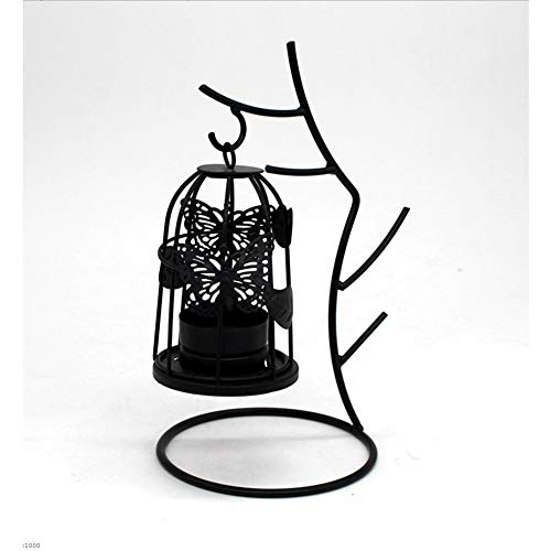 Wrought Branch Iron (FECTY Twig Wrought Iron Candlestick Valentine's Metal Branch Wrought Iron Candlestick Can Be Placed Candle Home Decoration Indoor Decorations (Color : Black))
