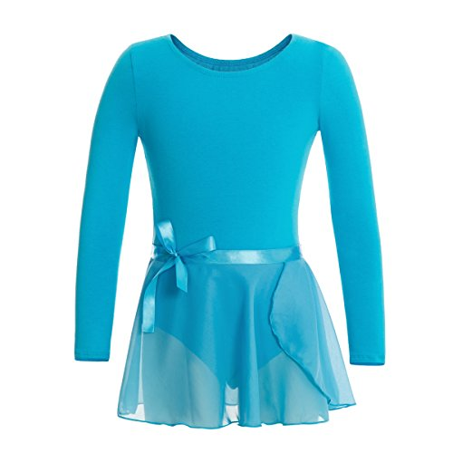 MAGIC TOWN Leotard Long Sleeve Wrap-Round Skirt Girls Dance Gymnastics Cotton (Cotton Long Sleeve Wrap)