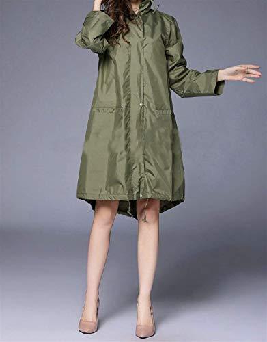 Donna Unita grün Cappuccio Saoye Da Giovane Tinta Orlo Tasca Fashion Armee Traspirante Esteso Antipioggia Impermeabile Parka Giacca Con qnqxpOwTIC