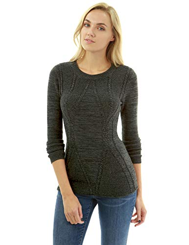 - PattyBoutik Women Cotton Blend Crewneck Cable Knit Sweater (Heather Dark Gray Large)
