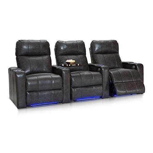 (Seatcraft Monterey Leather Home Theater Seating Power Recline with Adjustable Powered Headrests, In-Arm Storage, and USB Charging, Row of 3, Grey)