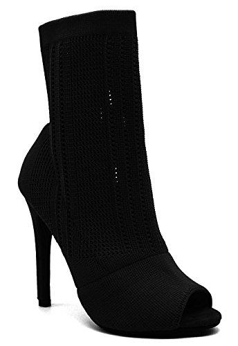 Angelina Women's Knit Sock Peep Toe Ankle Fashion Bootie Black 10