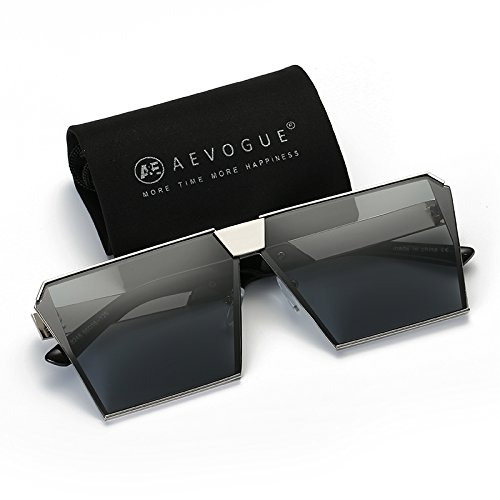 AEVOGUE Sunglasses For Men Square Oversized Metal Big Frame Brand Design AE0436 (Black&Silver, - With Men Square Faces