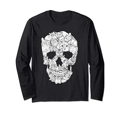 Cat Skull T-Shirt - Kitty Skeleton Halloween Costume Idea Long Sleeve T-Shirt ()