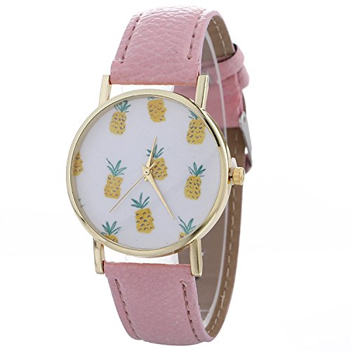 etbotu esfera redonda mujer piña Imprimir nonnumeric analógica reloj de cuarzo con correa de piel: Amazon.es: Relojes