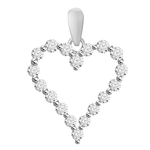 "TrioStar Vintage Fine Estate Jewelry 14k White Gold Plated Sim Diamond Heart Pendant with 18"" Chain"