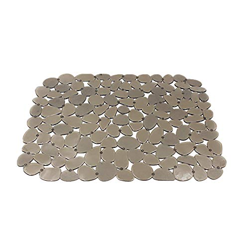 Mat Pebble (Quable Sink Mat,Kitchen Sink Mat Protector PVC Protects Glass Pebble Brown (1 PACK))