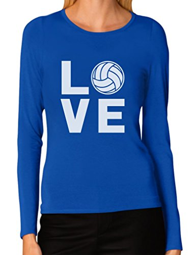 Long Volleyball T-shirt Sleeve (Love Volleyball - Perfect Gift for Volleyball Fans Women Long Sleeve T-Shirt Small Blue)