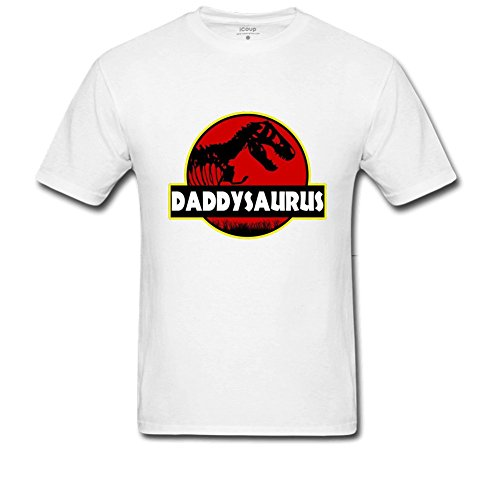 Price comparison product image Fkhaos Men's Daddysauras Dad Fathers Day T-Rex Old Dinosaur Crew neck T-shirt L White