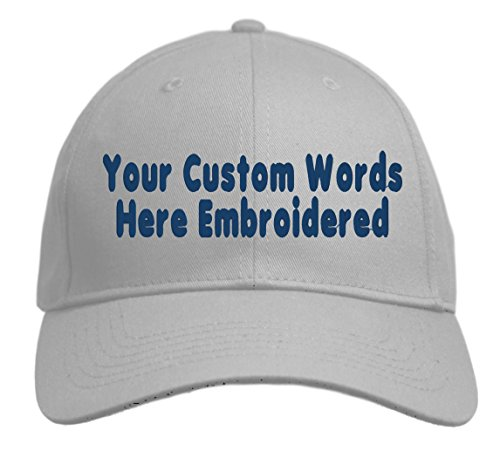 - Custom Hat, Embroidered. Your Own Text. Adjustable Back. Curved Bill (Silver)