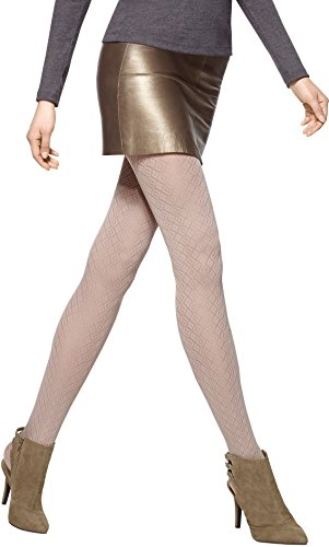 Hue Women's Diamond Quilted Tights with Control Top, Putty, M/L