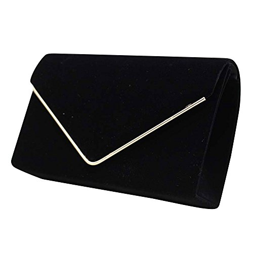 Party Womens Orange Black Clutch Bag Envelop Evening Handbag Wedding Cckuu Suede Purse Faux 6dw6vf
