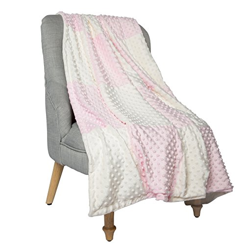 Boritar Super Soft Blanket Throw both for Adults Wemen and Children with Minky Raised Dotted, Pink 50