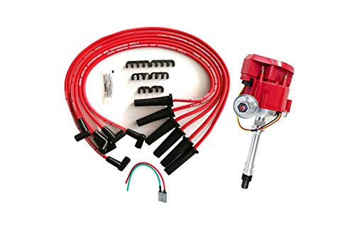 A-Team Performance 4.3L 262 V6 EFI to Carb Swap Complete HEI Distributor 65K Coil Red Cap, Red Spark Plug Wires Set, and Pigtail Harness 3-in-1 Kit Compatible with Chevrolet Chevy GM GMC 90° V-6 One W