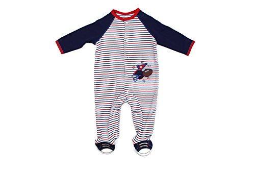 Sports Footed Sleeper (Little Me Footie Baby Footed Pajamas Sleeper (Navy Multi, 6 Mos))