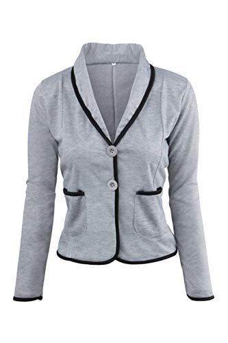 Anteriori Single Gray1 Chic Giacca Outerwear Fit Breasted Slim Camicia Donna Contrasto Di Giubotto Da Colore A Moda Bavero Tailleur Tasche Manica Autunno Lunga zwn8B