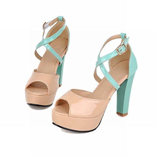 Carol Scarpe Eleganza Donna Fibbia Chic Assortiti Color Peep-toe Platform Chunky Sandali Tacco Alto Verde Menta