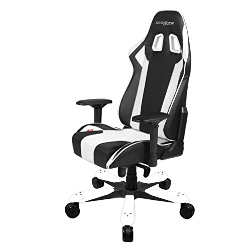 DXRacer OH/KS06/NW King Series Black and White Gaming Chair - Includes 2 free cushions