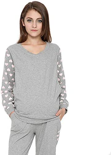 Camisones Pijamas Embarazada Suéter de algodón de Manga Larga ...