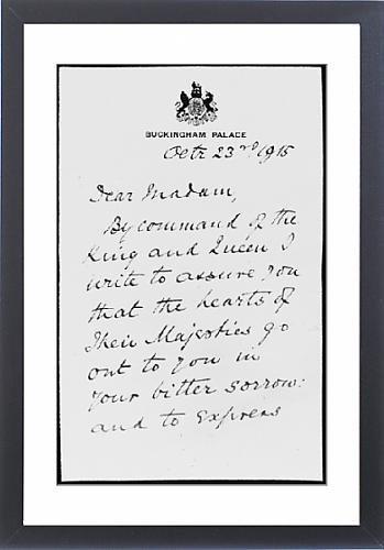 Enmarcado arte de la carta de Condolencias de Guerra: Amazon ...
