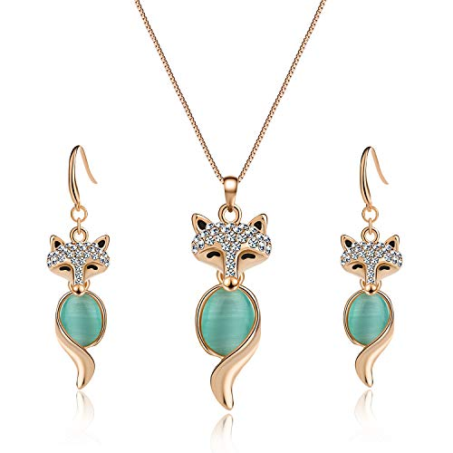 EVEVIC Cat's Eye Stone Fox Necklace Earrings Set for Women Girls 18K Gold Plated Gemstone Jewelry Sets (Green)