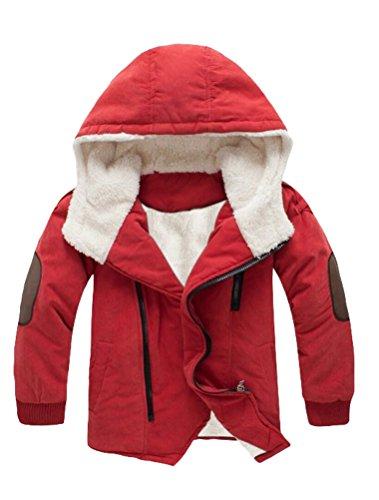 Mallimoda Boy's Thick Cotton-Padded Parka Jacket Hooded Fleece Coat Orange 5-6 Years